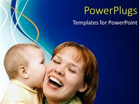 PowerPlugs: PowerPoint template with a happy mother smiling and playing with her baby