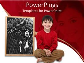 PowerPlugs: PowerPoint template with happy Mother's Day chalkboard drawing with boy child, mother in red background