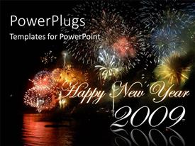 PowerPlugs: PowerPoint template with happy New depiction with colorful firework display in night sky