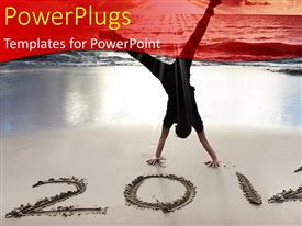 PowerPlugs: PowerPoint template with a man celebrating with a text that spells out the word '2012'