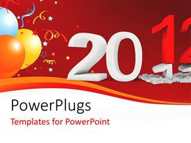 PowerPlugs: PowerPoint template with a celebration theme with balloons and a '2012: text