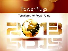 PowerPlugs: PowerPoint template with happy new year 2013 with earth globe representing letter 0