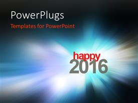 PowerPoint template displaying happy New year 2016 with zoom in blurred glowing blue background