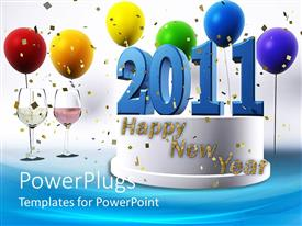 PowerPlugs: PowerPoint template with a happy new year cake with balloons in the background
