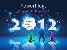 PowerPoint template displaying happy new year celebration with people dancing over star filled night sky