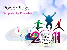 PowerPoint template displaying happy new year celebration with people jumping and music symbols
