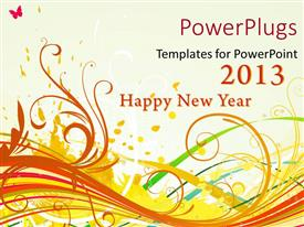 PowerPoint template displaying a happy new  year celebration of the year 2013