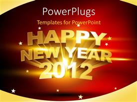PowerPoint template displaying a happy new year celebration of the year 2012