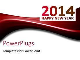 PowerPlugs: PowerPoint template with happy new year depiction with new year text on white background