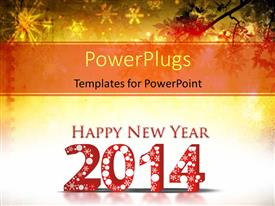 PowerPoint template displaying happy New year depiction with snowflakes in grunge background