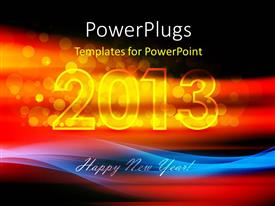 PowerPlugs: PowerPoint template with happy new year text with fiery 2013 over black background