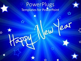 PowerPlugs: PowerPoint template with happy New year text with white stars on blue