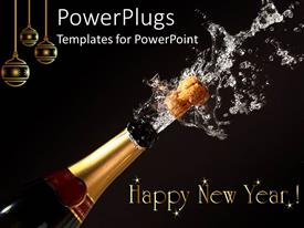 PowerPoint enhanced with happy New Year theme with champagne bottle opening, gold Christmas ornaments, black background