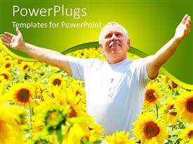 PowerPlugs: PowerPoint template with a happy old man rejoicing in the middle of sunflower plants