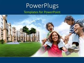 PowerPlugs: PowerPoint template with happy parents carrying children over shoulder with residential buildings in background
