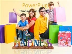 PowerPlugs: PowerPoint template with a family after shopping with yellowish background