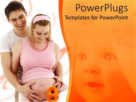 PowerPoint template displaying happy parents waiting for baby, pregnant woman and man holding her belly on white background with happy baby face faded on orange background