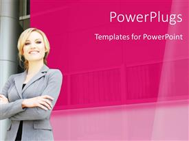 PowerPlugs: PowerPoint template with a happy professional with pinkish background