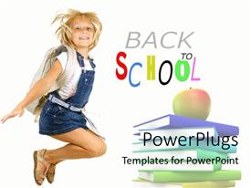 PowerPoint template displaying a happy pupil with a text that spell out the words