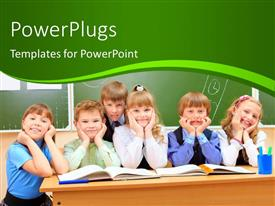 PowerPoint template displaying happy school children at a classroom