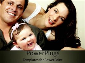 PowerPoint template displaying happy smiling family, father, mother and baby smiling at the camera in beautiful family depiction