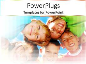 PowerPlugs: PowerPoint template with happy smiling kids, girls and boys playing smiling at the camera