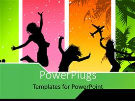 PowerPlugs: PowerPoint template with depiction of Summer with silhouette of people over colorful background