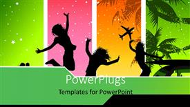 PowerPoint template displaying depiction of Summer with silhouette of people over colorful background