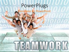 PowerPlugs: PowerPoint template with happy team smiling with hands raised on digital background with binary digits