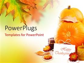 PowerPlugs: PowerPoint template with happy thanksgiving card with fruits and flowers for decoration