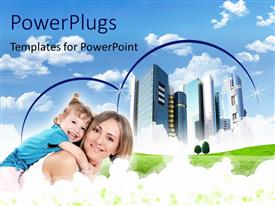 PowerPlugs: PowerPoint template with happy woman backing son with skyscrapers over cloudy sky