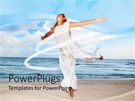 PowerPoint template displaying happy woman dressed in white in sandy beach with ocean water and blue sky in the background