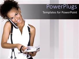 PPT layouts consisting of happy woman holding cell phone with cheek over shoulder opens directory