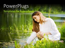 PowerPlugs: PowerPoint template with a happy woman with a lake in the background