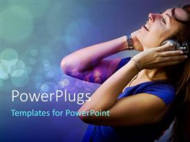 PowerPlugs: PowerPoint template with happy woman listening to music in headphones on bubbled background