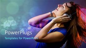 PowerPoint template displaying happy woman listening to music in headphones on bubbled background