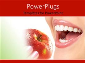 PowerPlugs: PowerPoint template with happy woman with perfect dentition eating healthy from red apple