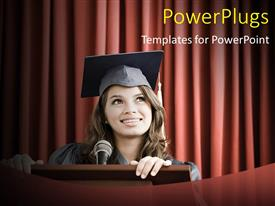PowerPoint template displaying happy young lady delivering graduation speech on pulpit
