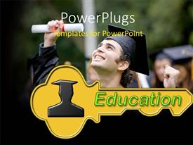 PowerPlugs: PowerPoint template with happy young man with graduation cap smiling with diploma raised above head
