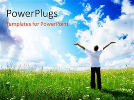 PowerPlugs: PowerPoint template with happy young man with hands raised on grass field