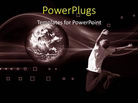 PowerPlugs: PowerPoint template with happy young man jumps for joy with world over abstract background
