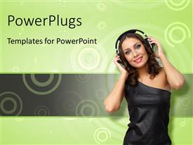 PowerPlugs: PowerPoint template with happy young woman with headphones on over green background with concentric circles
