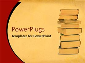 PowerPlugs: PowerPoint template with hardcover books stacked high to study and read on tan background