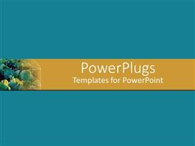 PowerPlugs: PowerPoint template with harvest of fresh fruits lay on orange bar with blue background