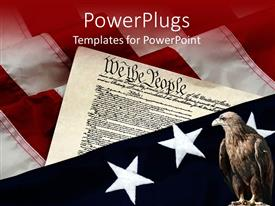 PowerPoint template displaying a hawk with American constitution in the background