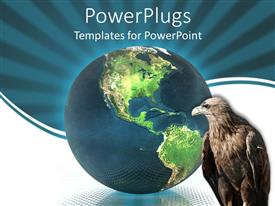 PowerPlugs: PowerPoint template with a hawk with a globe in the background and bluish background