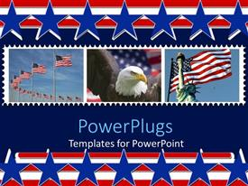 PowerPoint template displaying a hawk and statue of liberty with American flag in the background