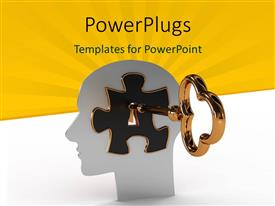 PowerPoint template displaying head with a puzzle and key inside with yellow color rays