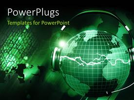PowerPlugs: PowerPoint template with headphone with microphone on green earth globe with music playing
