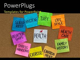 PowerPlugs: PowerPoint template with health concept with keywords like hygine, diet, exercise, stress, lifestyle over textured background depicting health concept